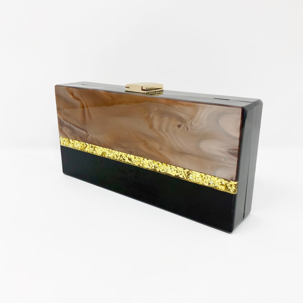 Acrylic Party Box in Black, Gold and Brown