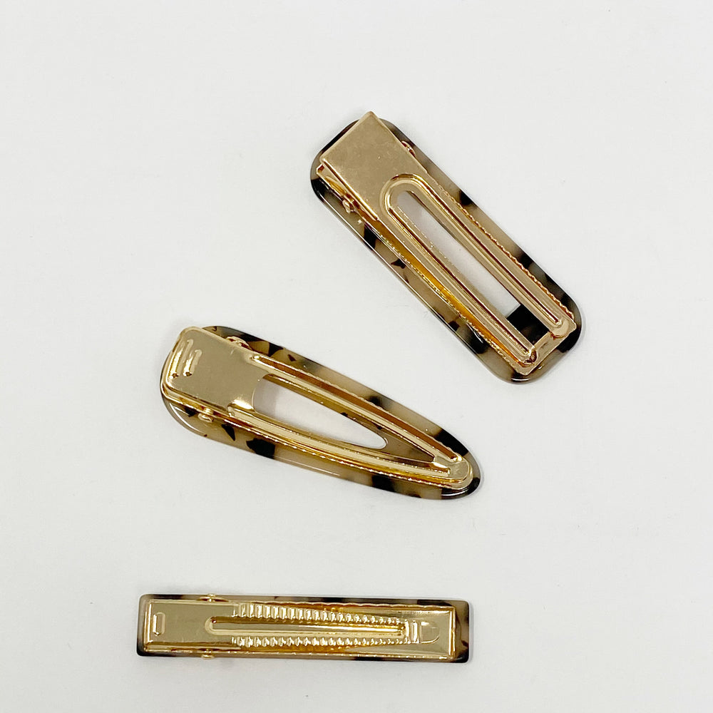 Hair Clip Trio in Blonde Tortoise
