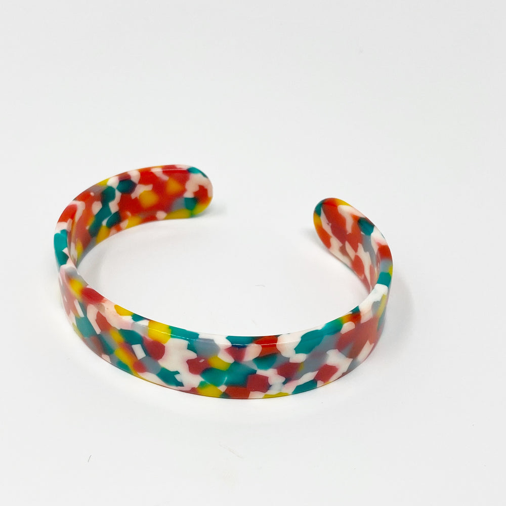Medium Cuff in Red, Yellow and Teal Confetti