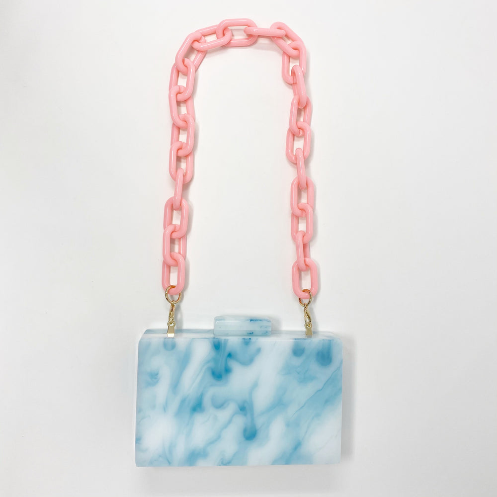 Chain Link Short Acrylic Purse Strap in Bubblegum