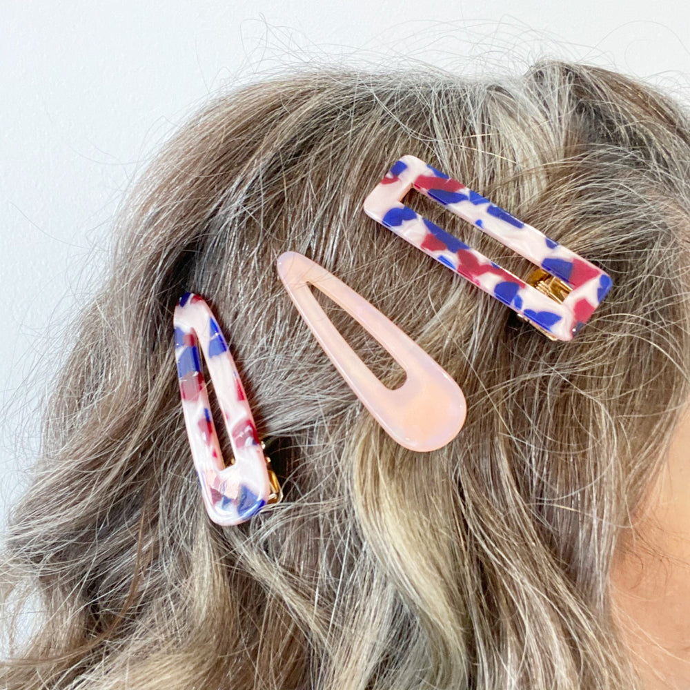 Hair Clip Trio in Pink, Red and Blue