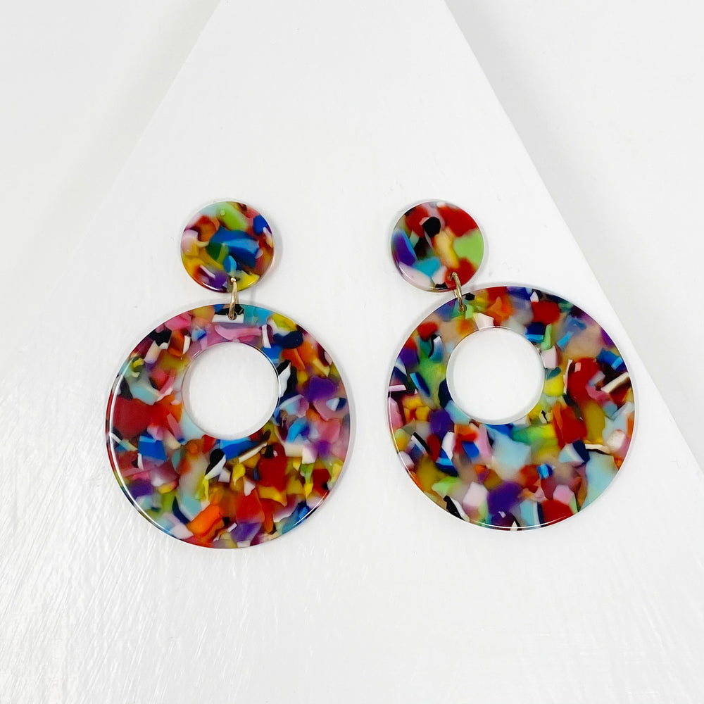 Open Circle Mod Drop Earrings in Multicolor