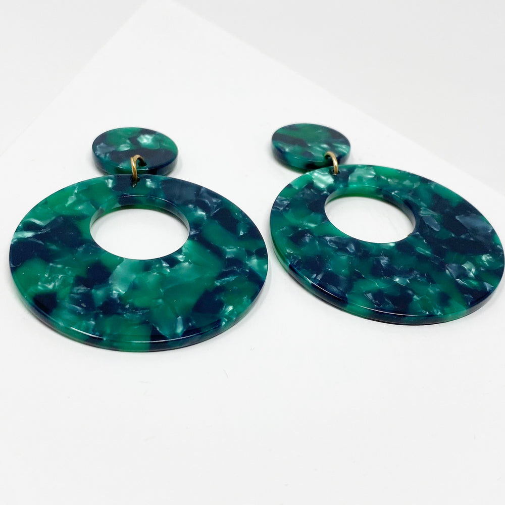 Open Circle Mod Drop Earrings in Green