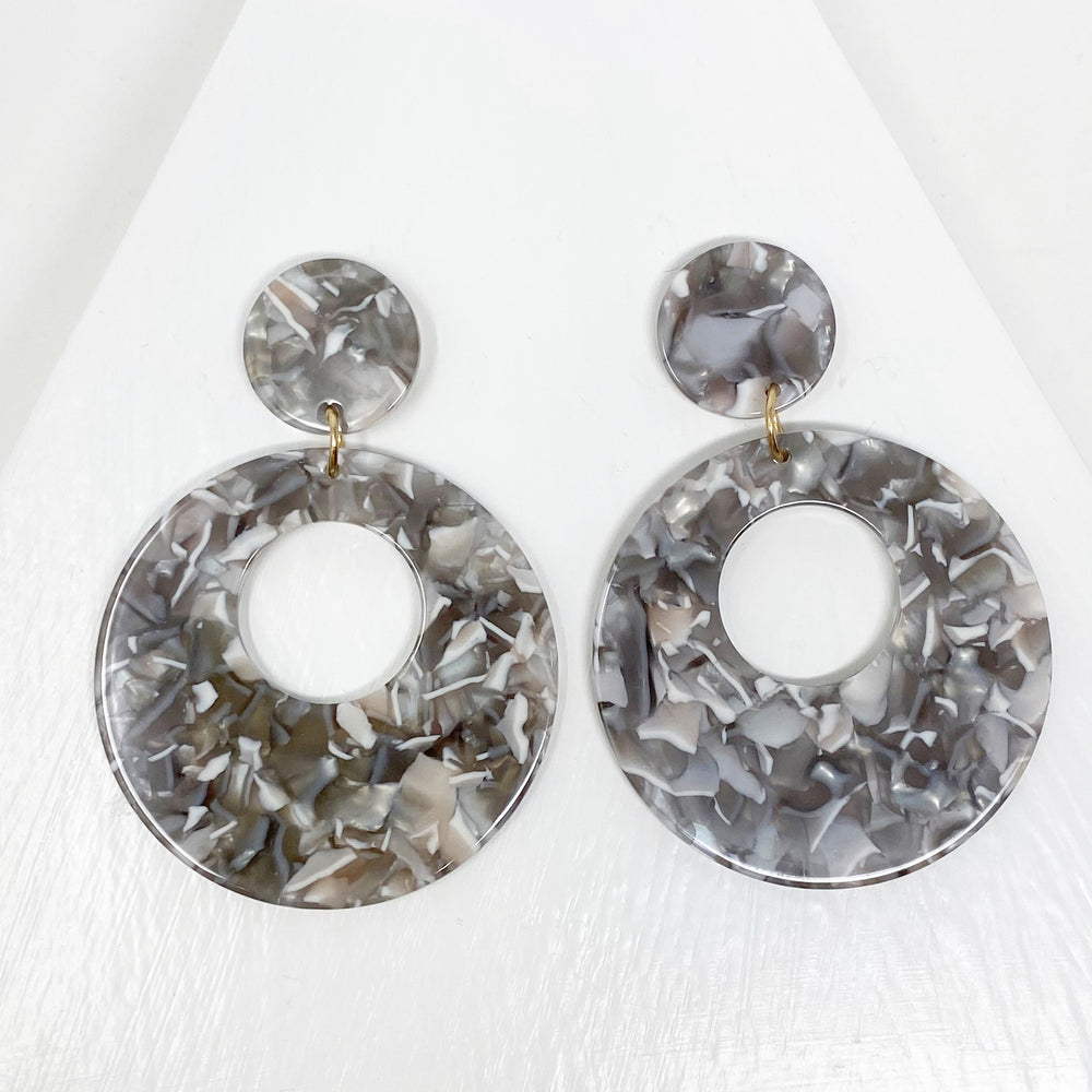Open Circle Mod Drop Earrings in Gray
