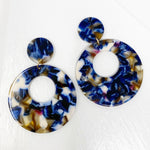 Open Circle Mod Drop Earrings in Blue