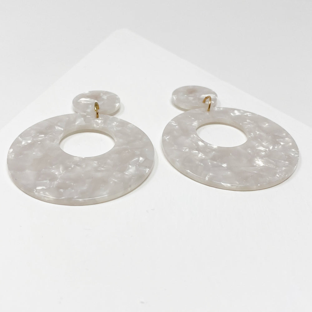 Open Circle Mod Drop Earrings in White