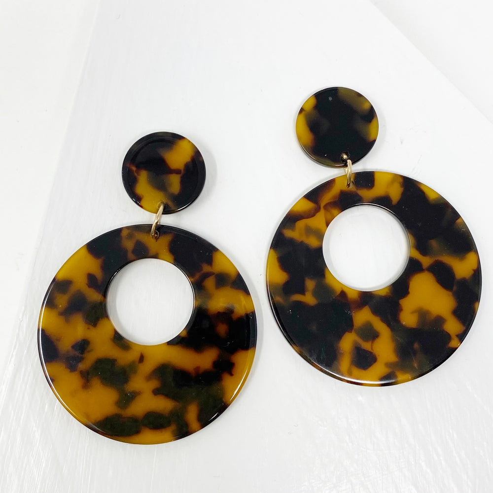 Open Circle Mod Drop Earrings in Tortoise