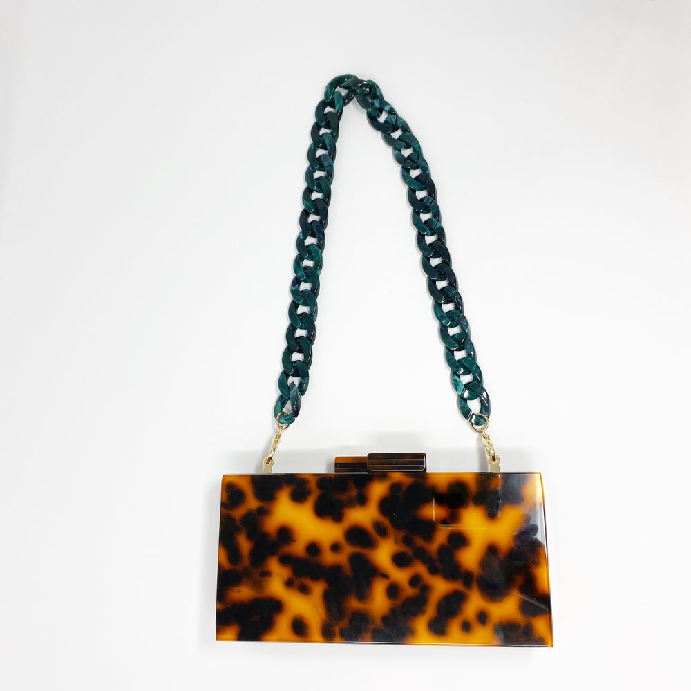 Chain Link Short Acrylic Purse Strap in Dark Green