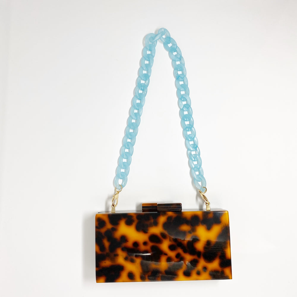 Chain Link Short Acrylic Purse Strap in Light Blue