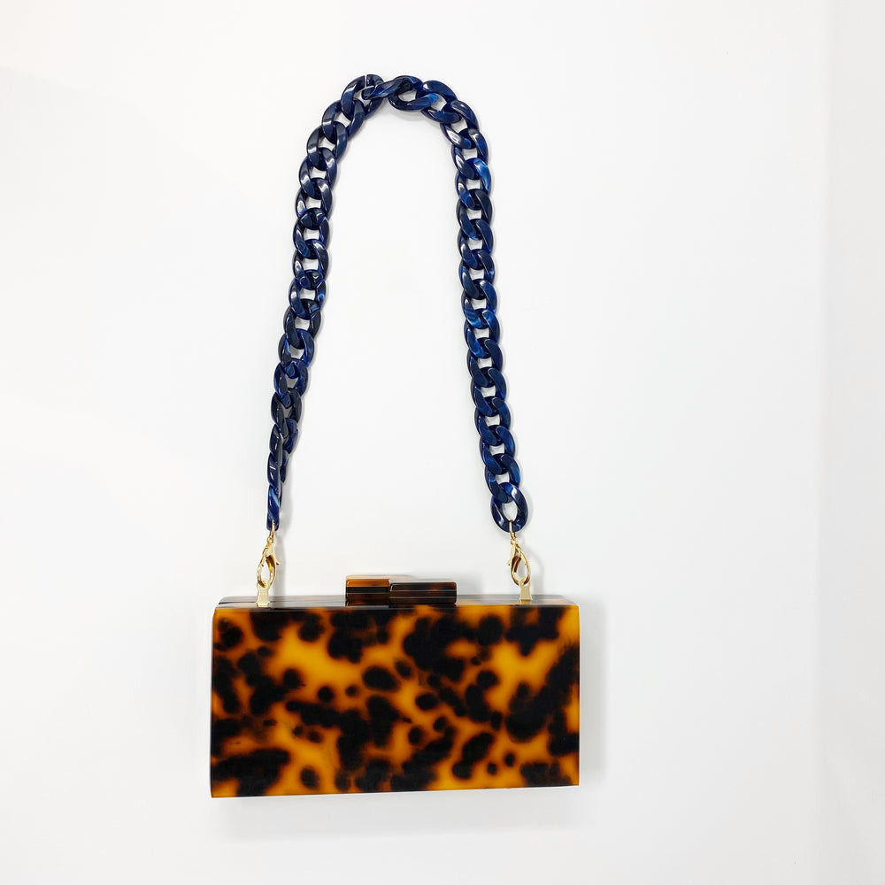 Chain Link Short Acrylic Purse Strap in Navy
