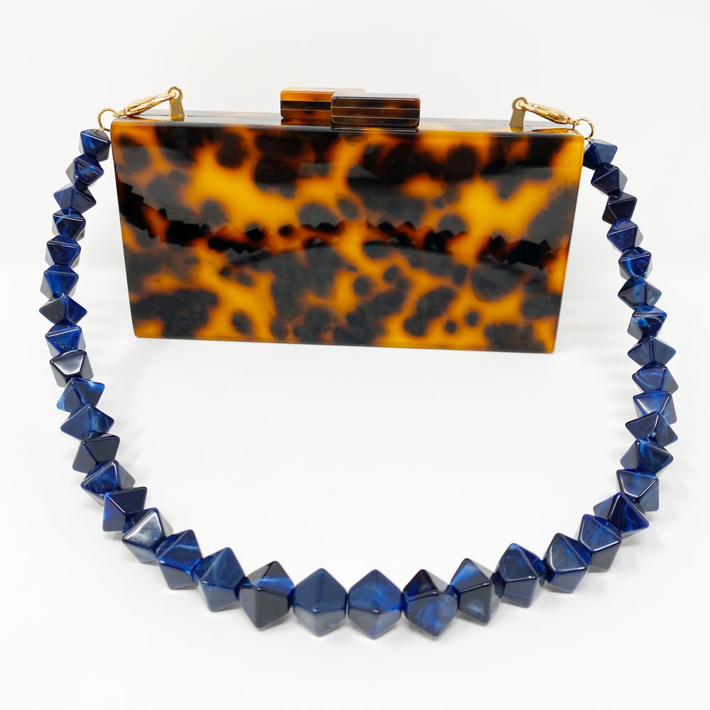 Geometric Short Acrylic Purse Strap in Navy