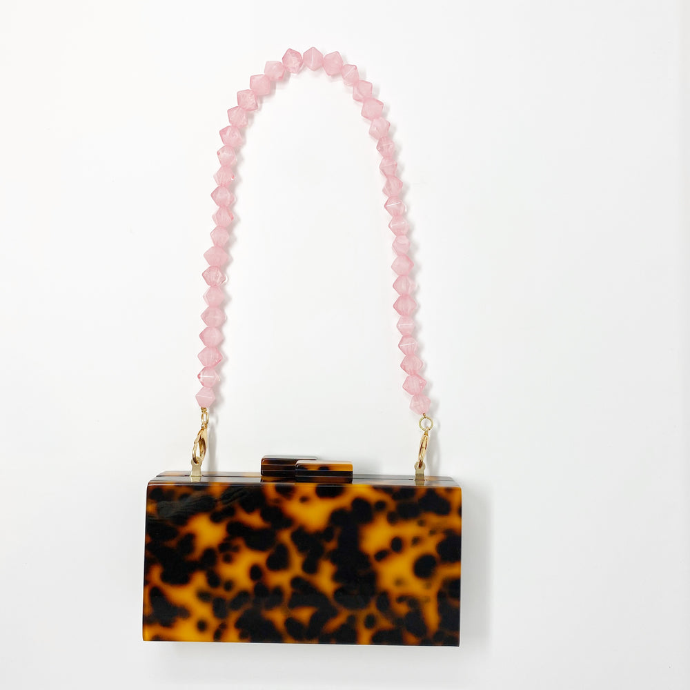 Geometric Short Acrylic Purse Strap in Pink