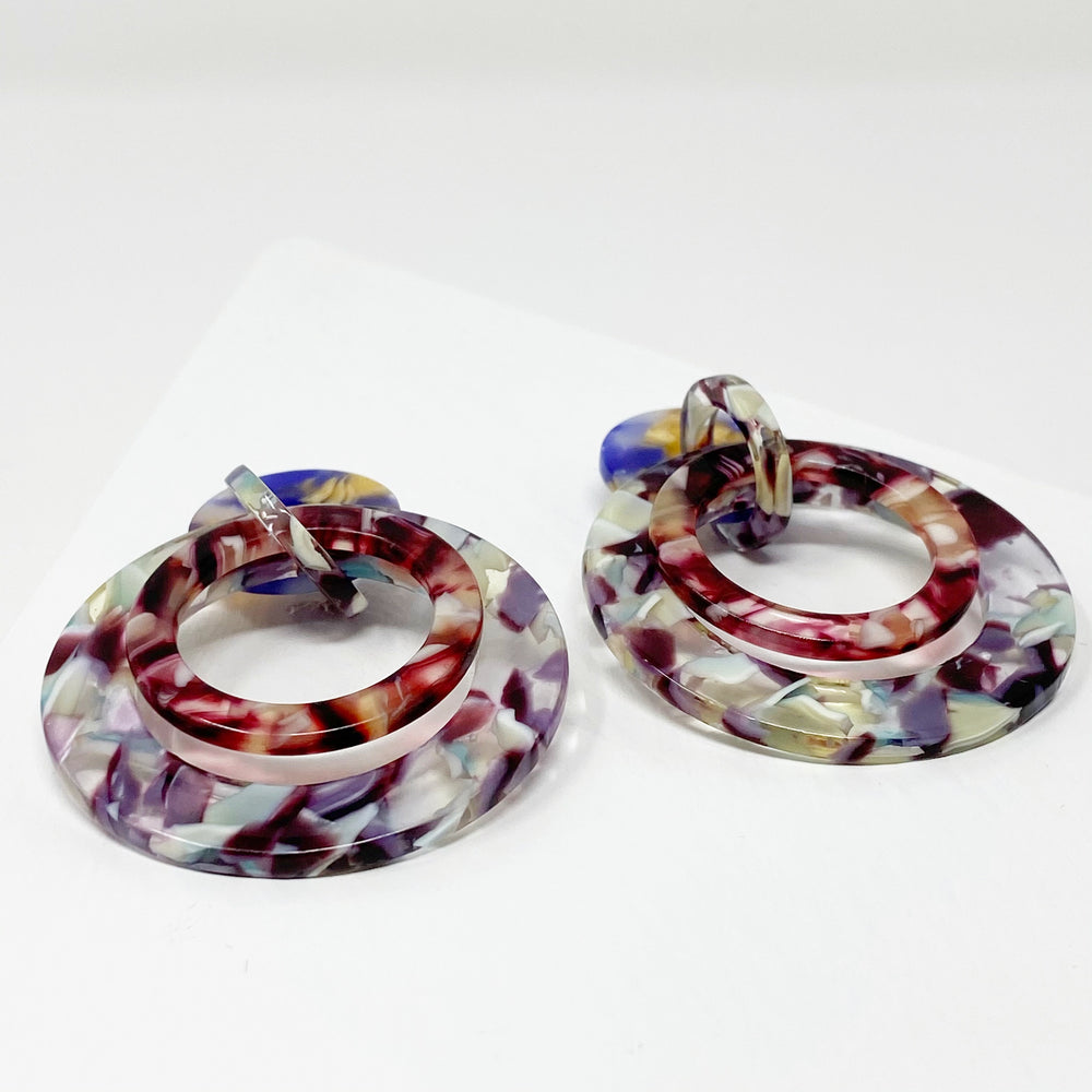Banded Hoop Earrings in Purple and Mint with Plum