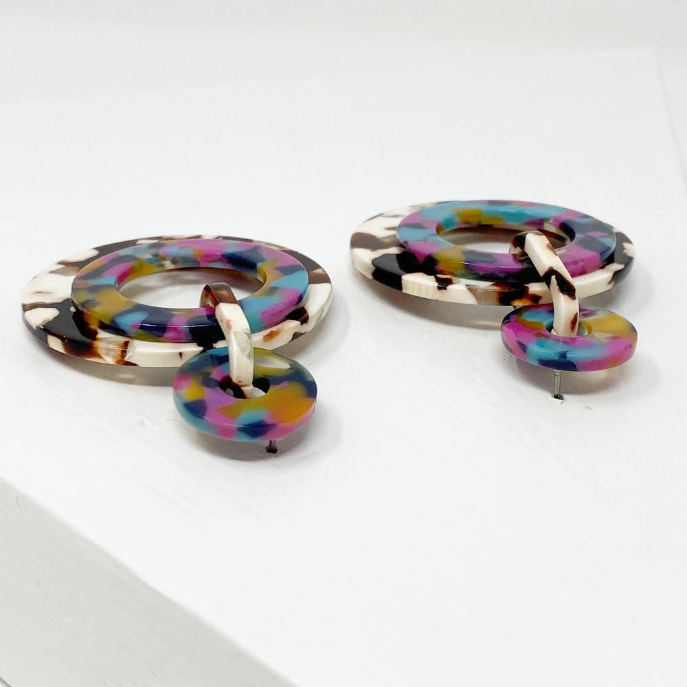 Banded Hoop Earrings in Pink, Yellow, Navy and Teal