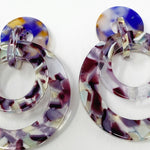 Banded Hoop Earrings in Purple and Mint