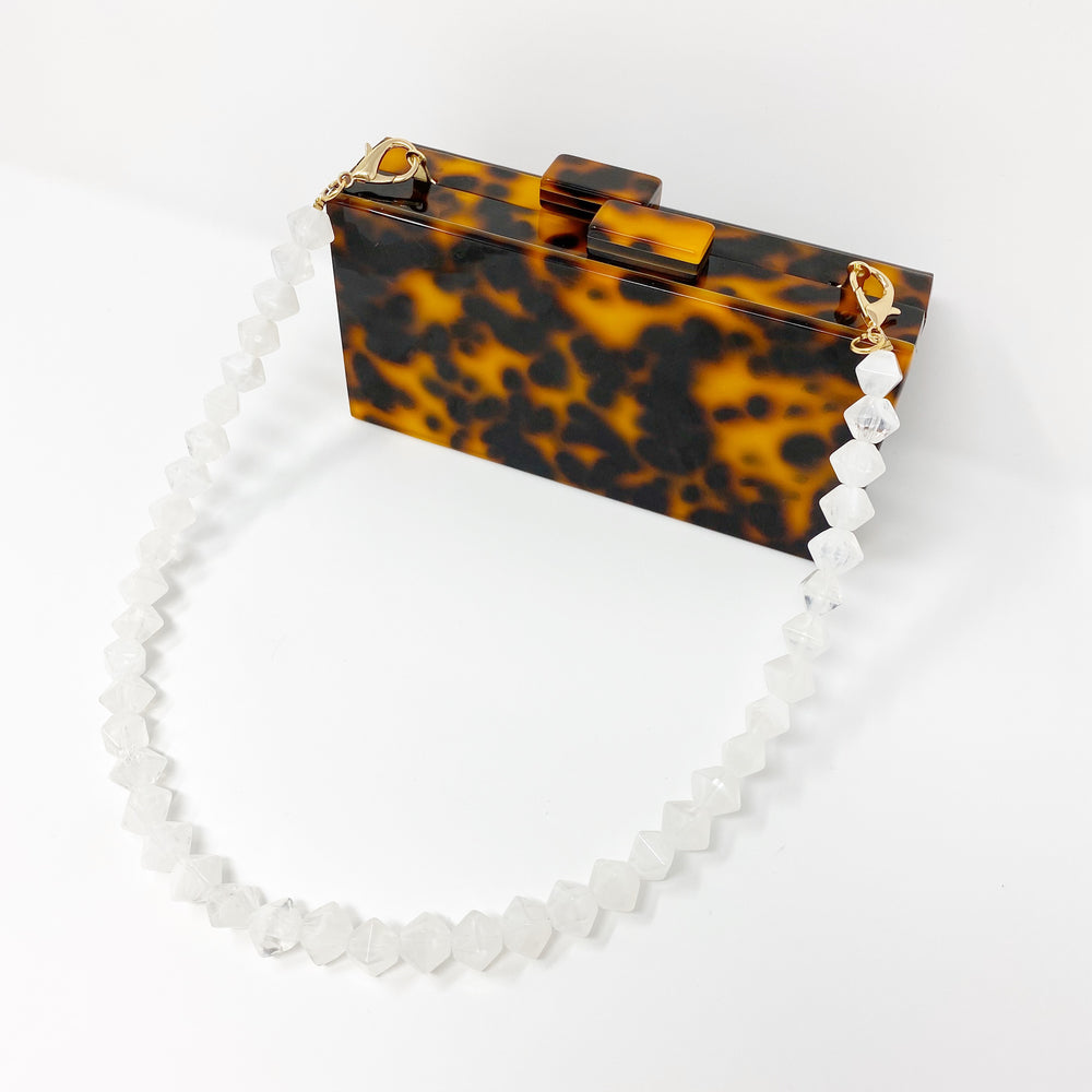 Geometric Short Acrylic Purse Strap in White