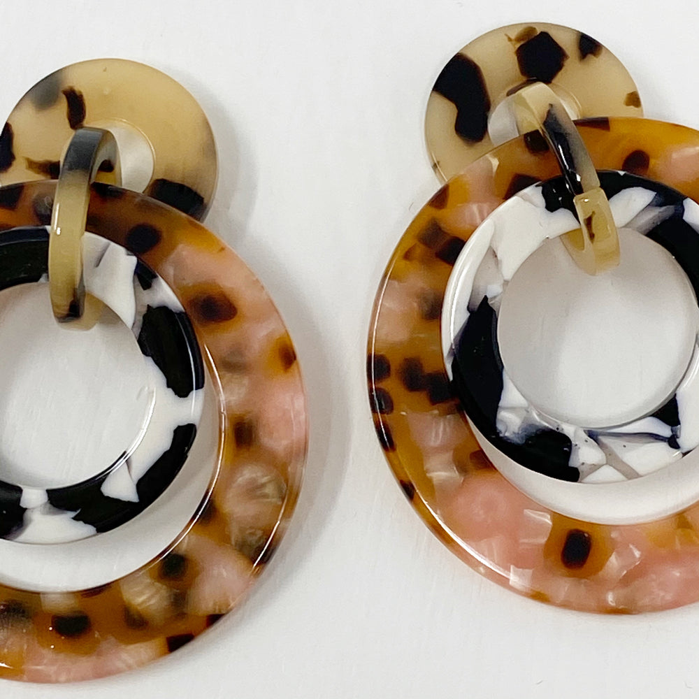 Banded Hoop Earrings in Black and White with Pink Leopard