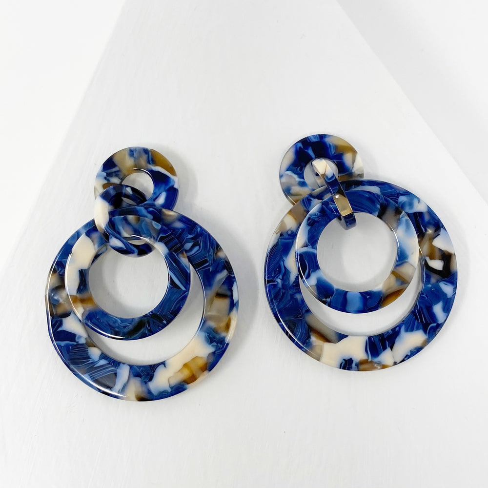 Banded Hoop Earrings in Blue