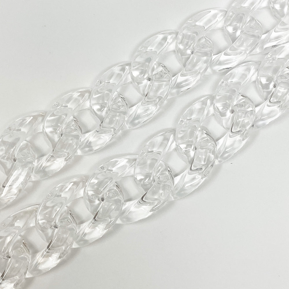 Chain Link Short Acrylic Purse Strap in Clear