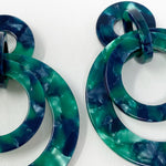 Banded Hoop Earrings in Green