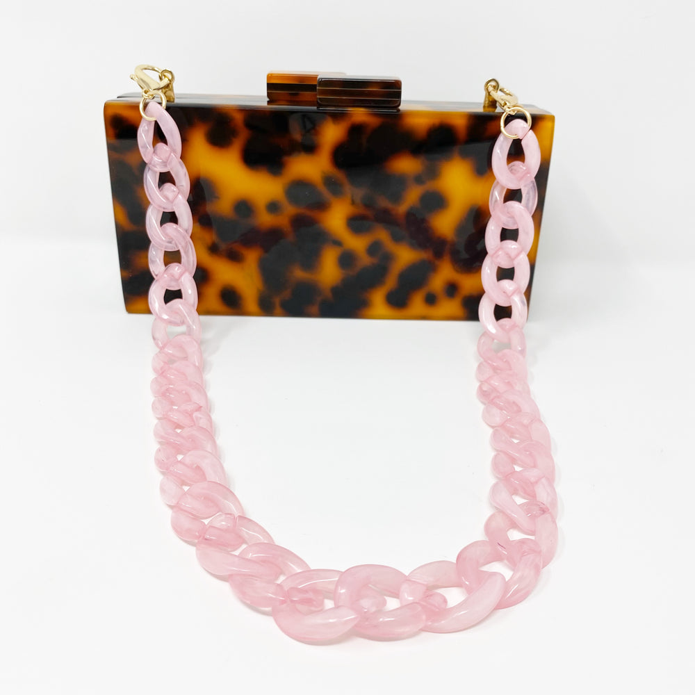 Chain Link Short Acrylic Purse Strap in Light Pink