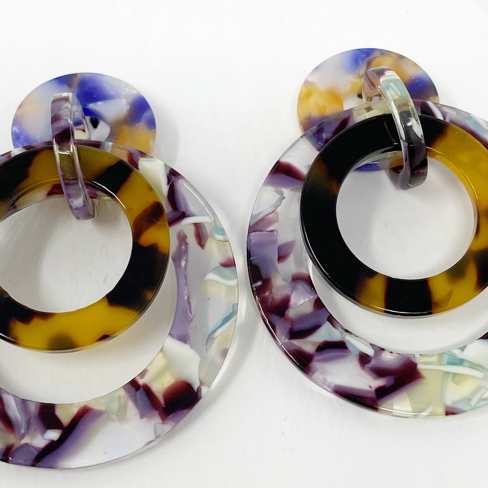 Banded Hoop Earrings in Purple and Mint and Tortoise