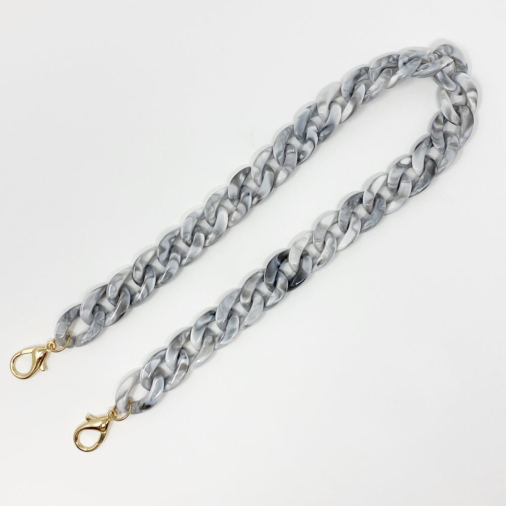 Chain Link Short Acrylic Purse Strap in Gray Marble