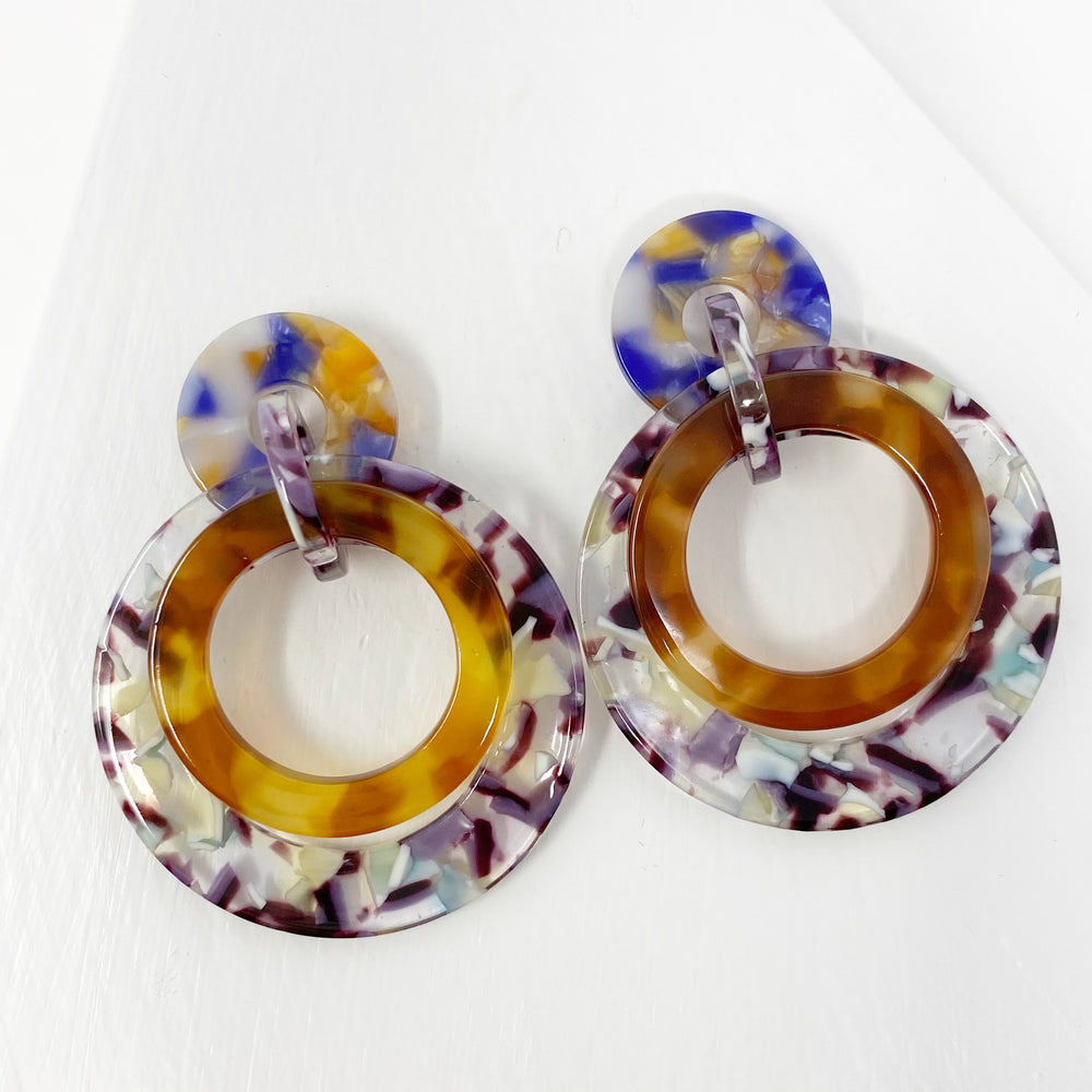 Banded Hoop Earrings in Purple and Mint with Brown