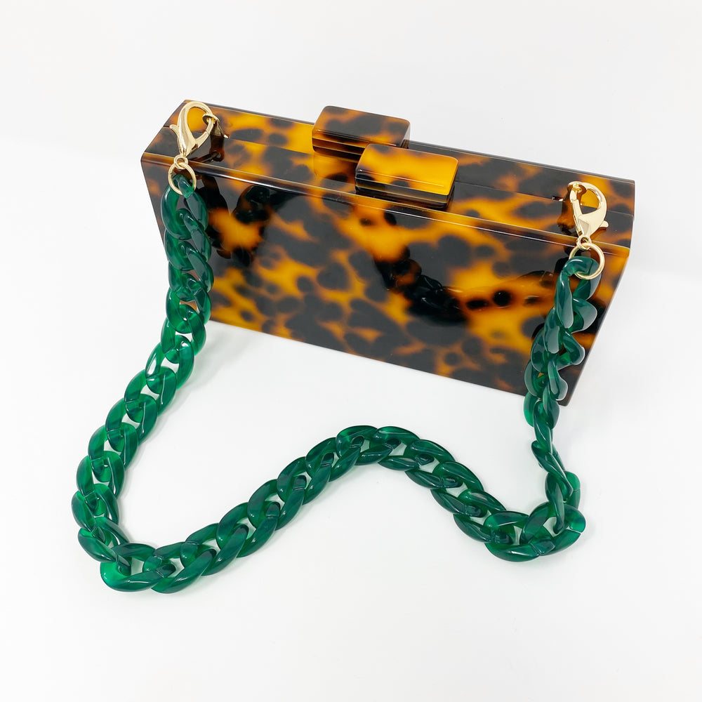 Chain Link Short Acrylic Purse Strap in Green