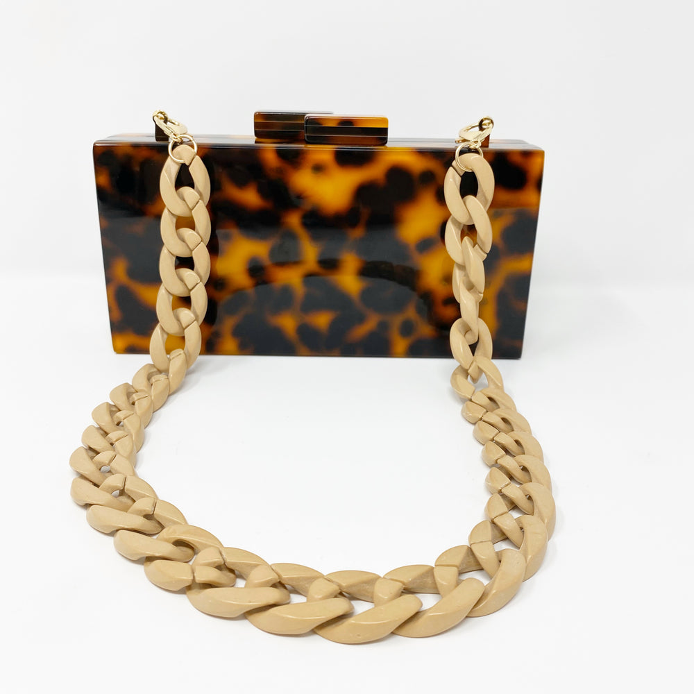 Chain Link Short Acrylic Purse Strap in Natural