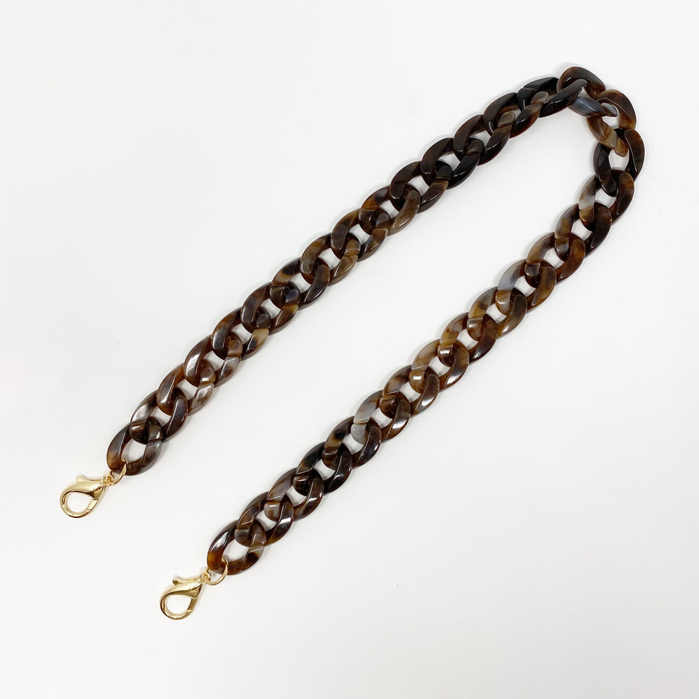 Chain Link Short Acrylic Purse Strap in Chocolate