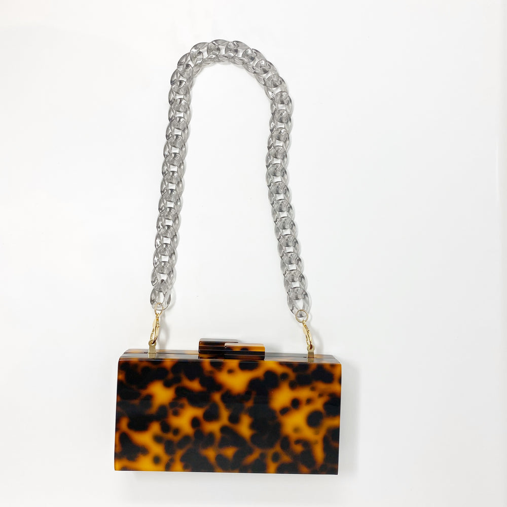 Chain Link Short Acrylic Purse Strap in Charcoal