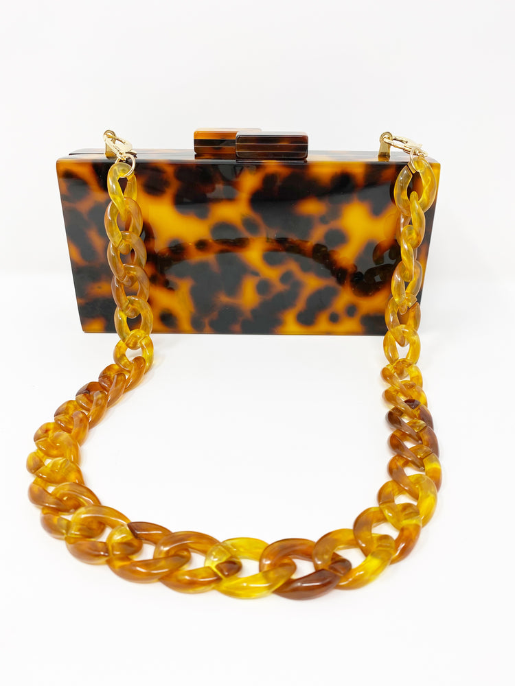 Chain Link Short Acrylic Purse Strap in Amber