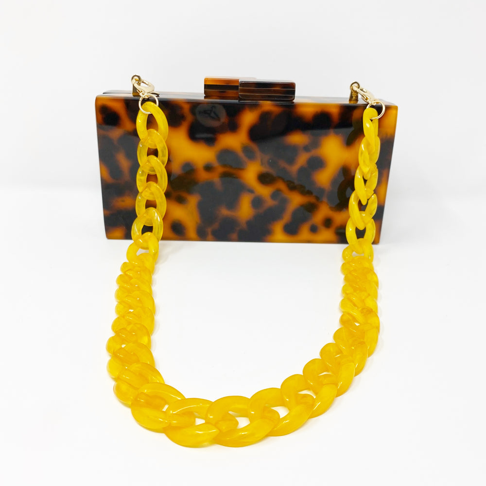 Chain Link Short Acrylic Purse Strap in Yellow