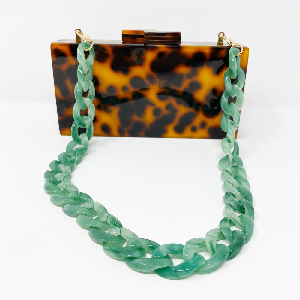 Chain Link Short Acrylic Purse Strap in Light Green