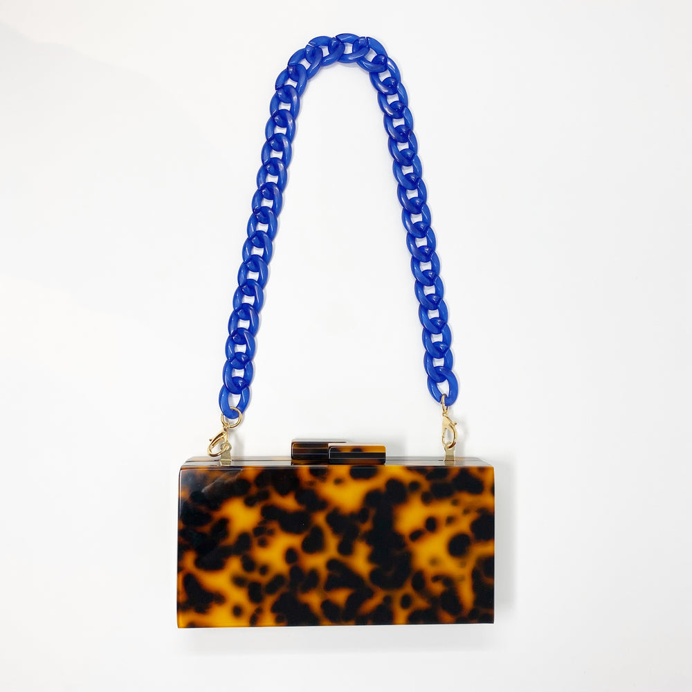 Chain Link Short Acrylic Purse Strap in Blue