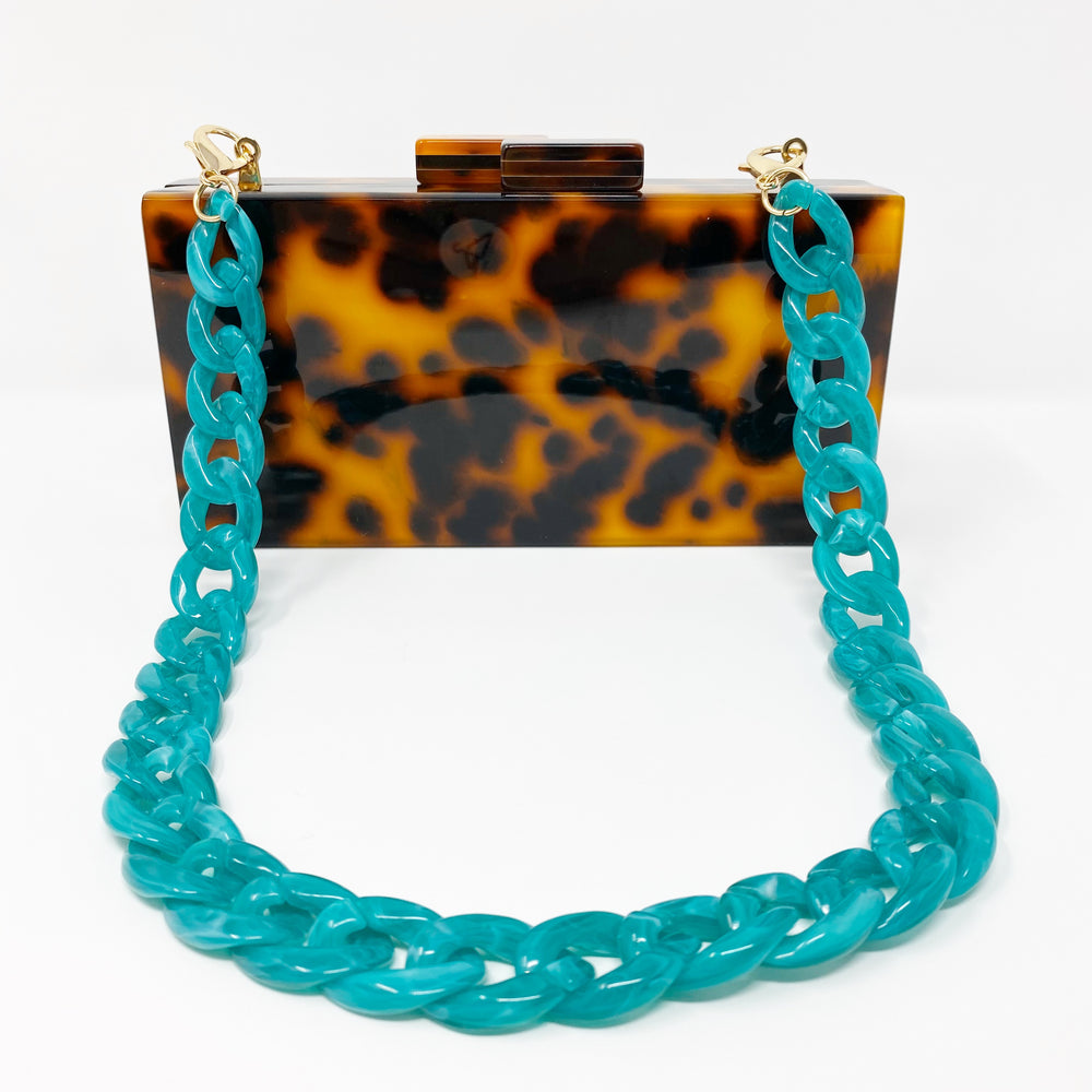 Chain Link Short Acrylic Purse Strap in Teal