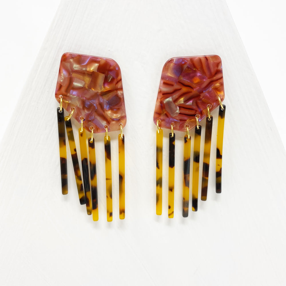 Shield Earrings in Iridescent Pink with Tortoise Fringe