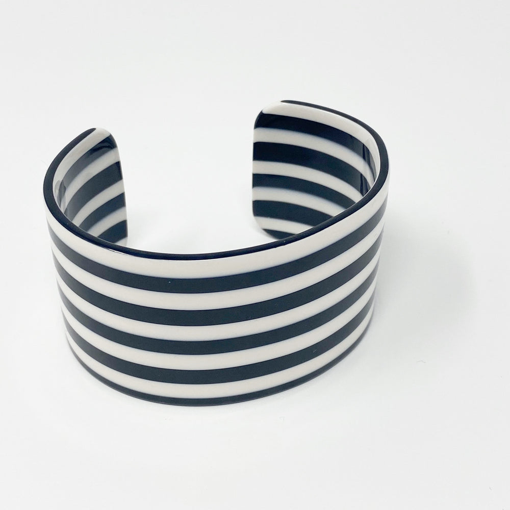 Large Cuff in Black and White Stripe