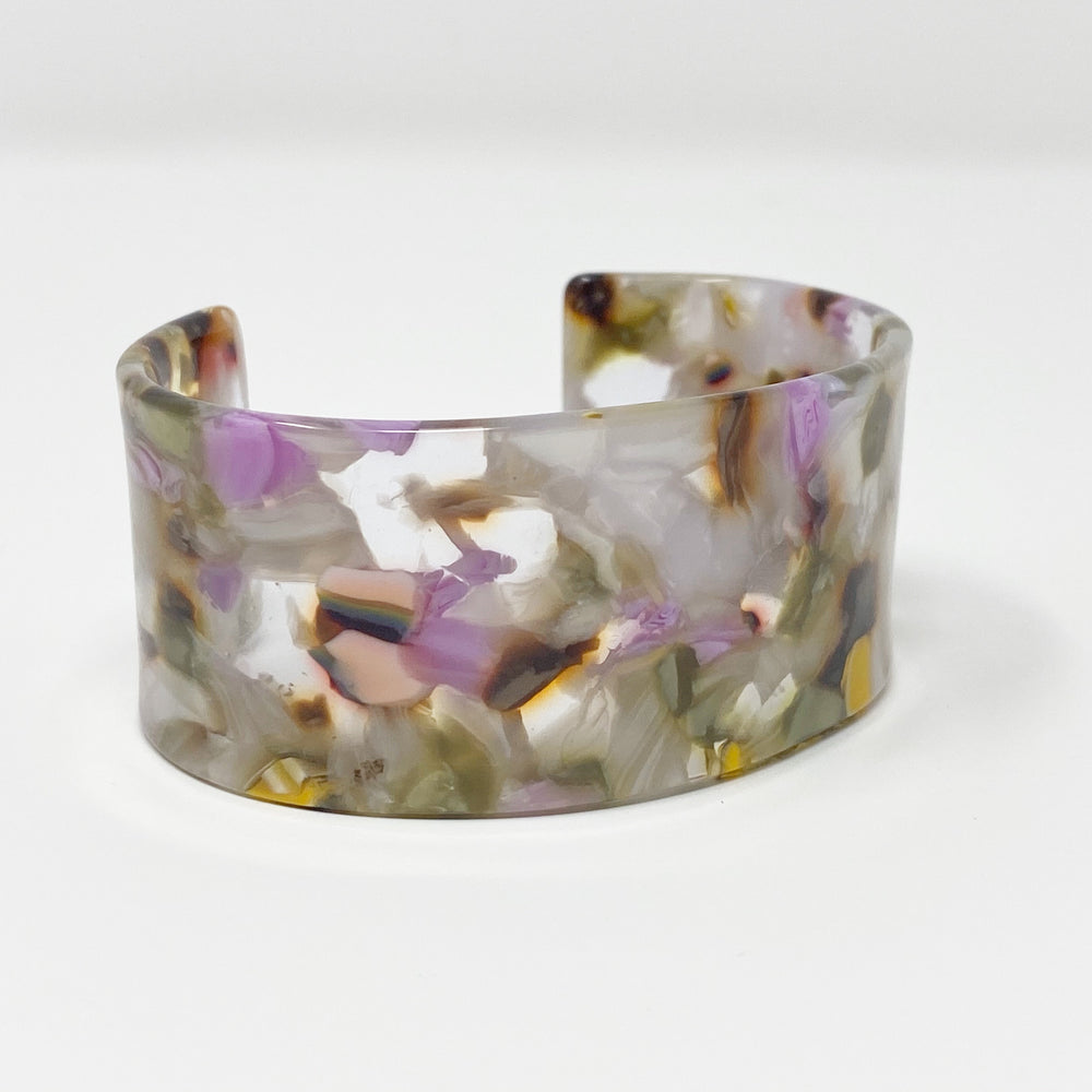 Large Cuff in Green, White and Purple