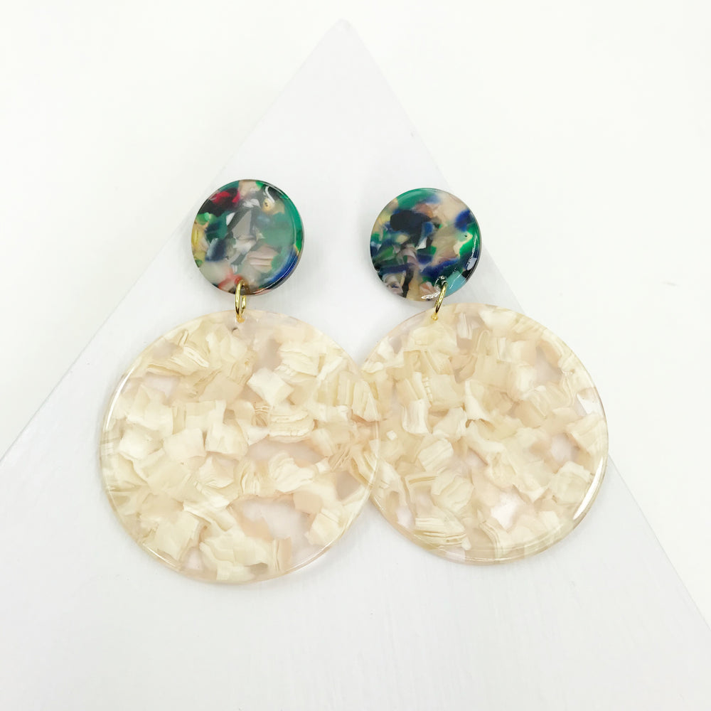 Circle Drop Earrings in Cream with Green Stud