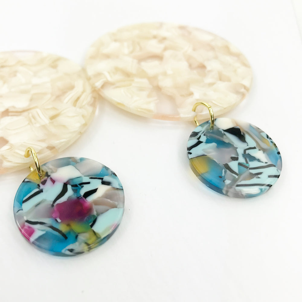 Circle Drop Earrings in Cream with Blue Mix Stud