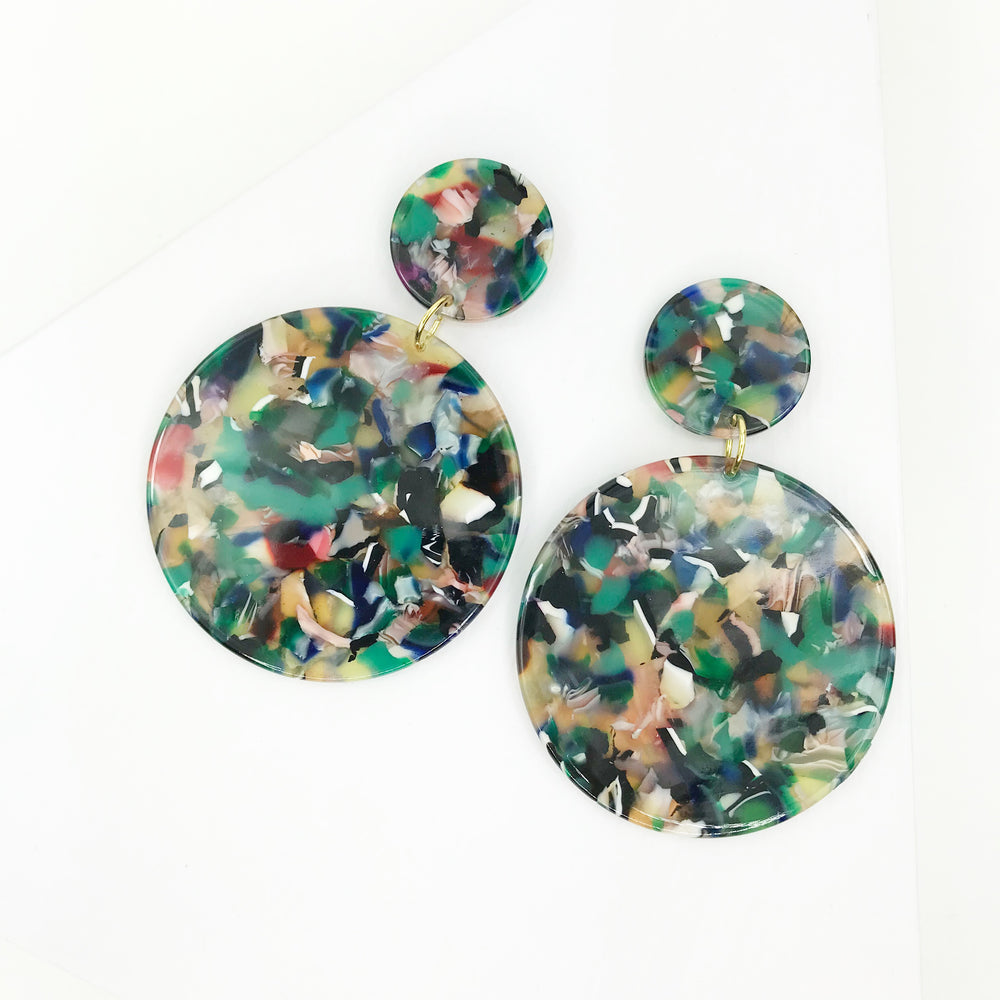 Circle Drop Earrings in Green