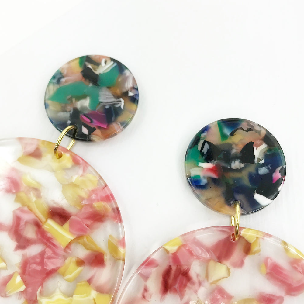 Circle Drop Earrings in Pink and Yellow with Green Stud