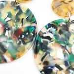 Circle Drop Earrings in Green with Iridescent Camel Stud