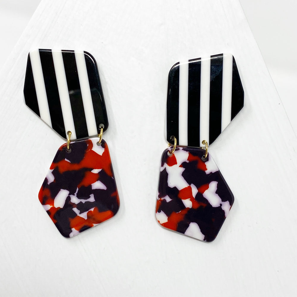 Double Shield Drop Earrings in Red, White and Purple with Black and White Stripe Stud