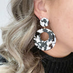Open Circle Mod Drop Earrings in Black and White