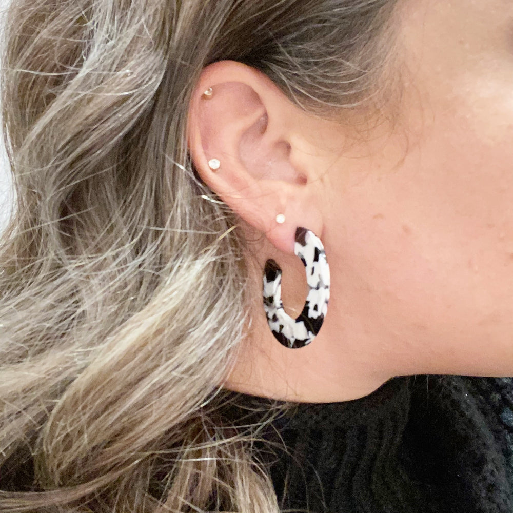 Mini Hoop Earrings in Black and White