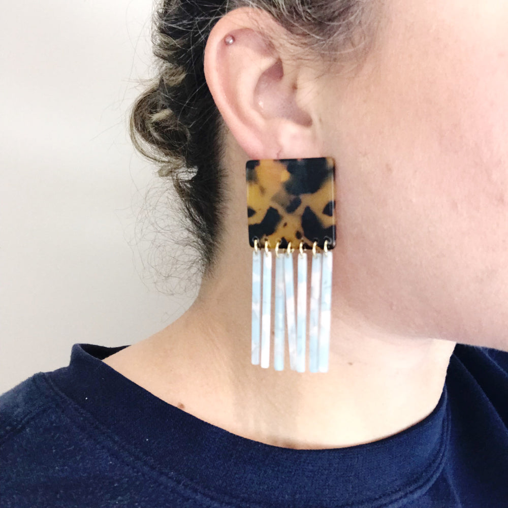 Square Earrings in Tortoise with Blue Fringe