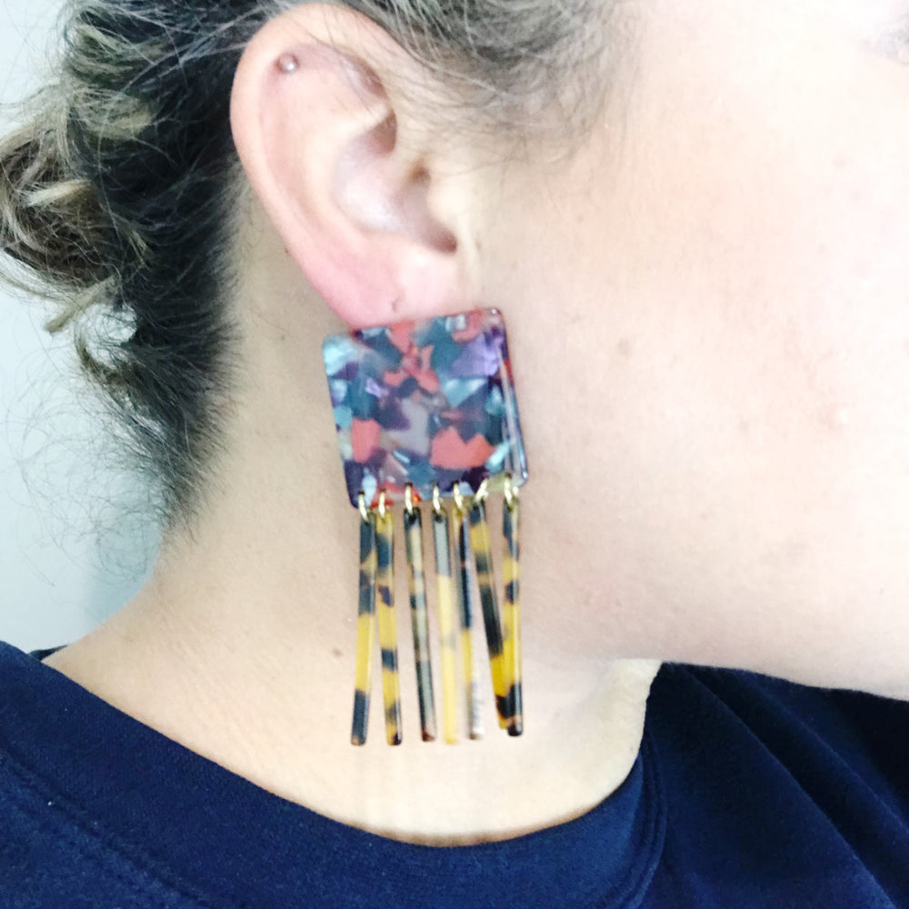 Square Earrings in Berry Mix with Tortoise Fringe